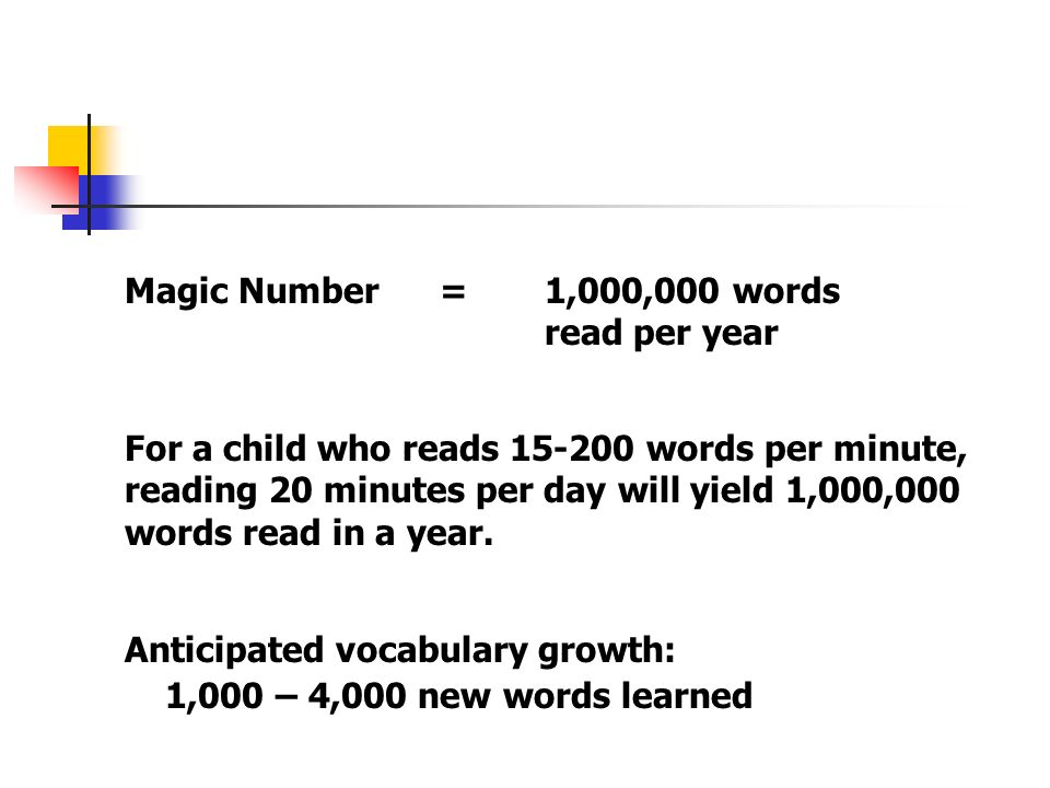 Magic Number = 1,000,000 words read per year