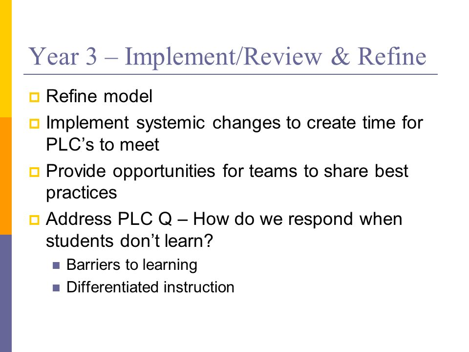 Year 3 – Implement/Review & Refine