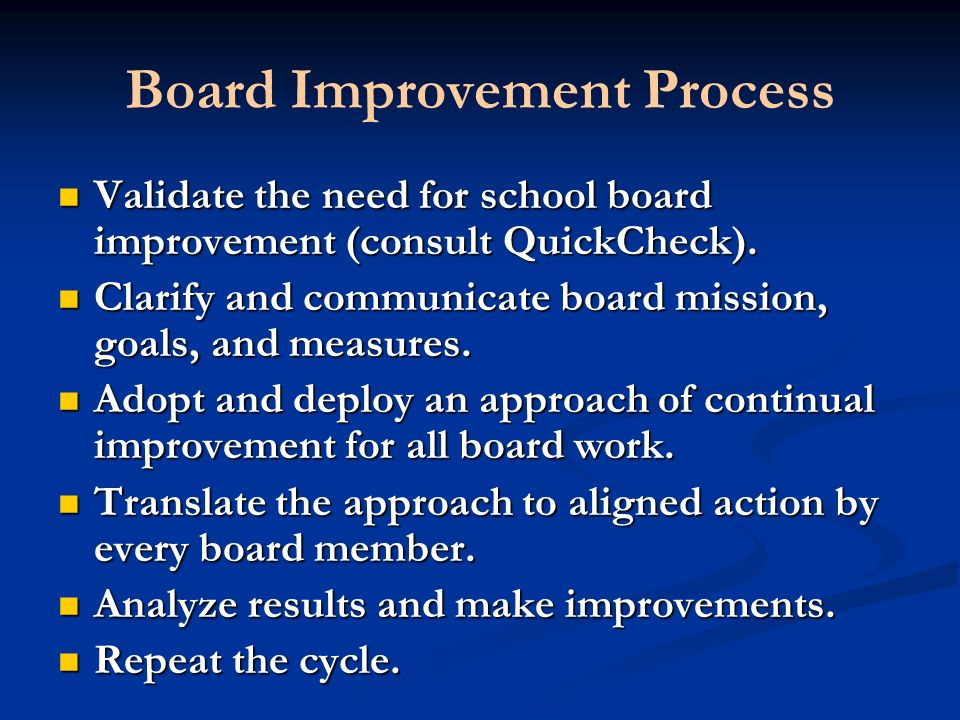Board Improvement Process