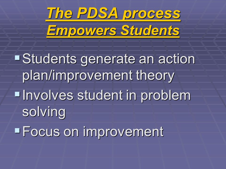 The PDSA process Empowers Students