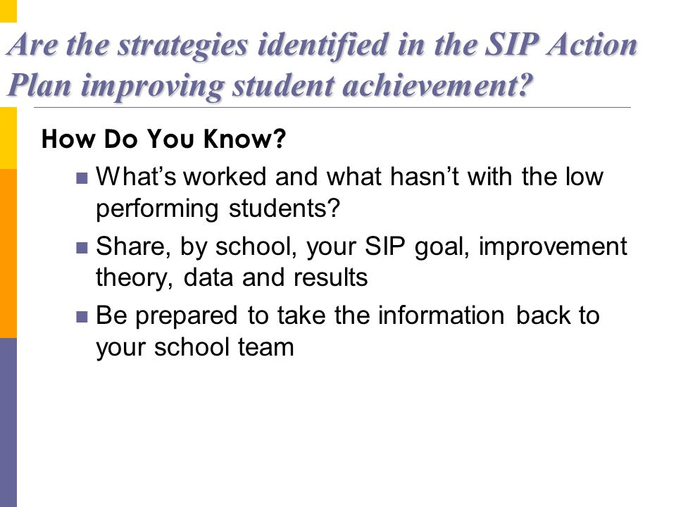Are the strategies identified in the SIP Action Plan improving student achievement