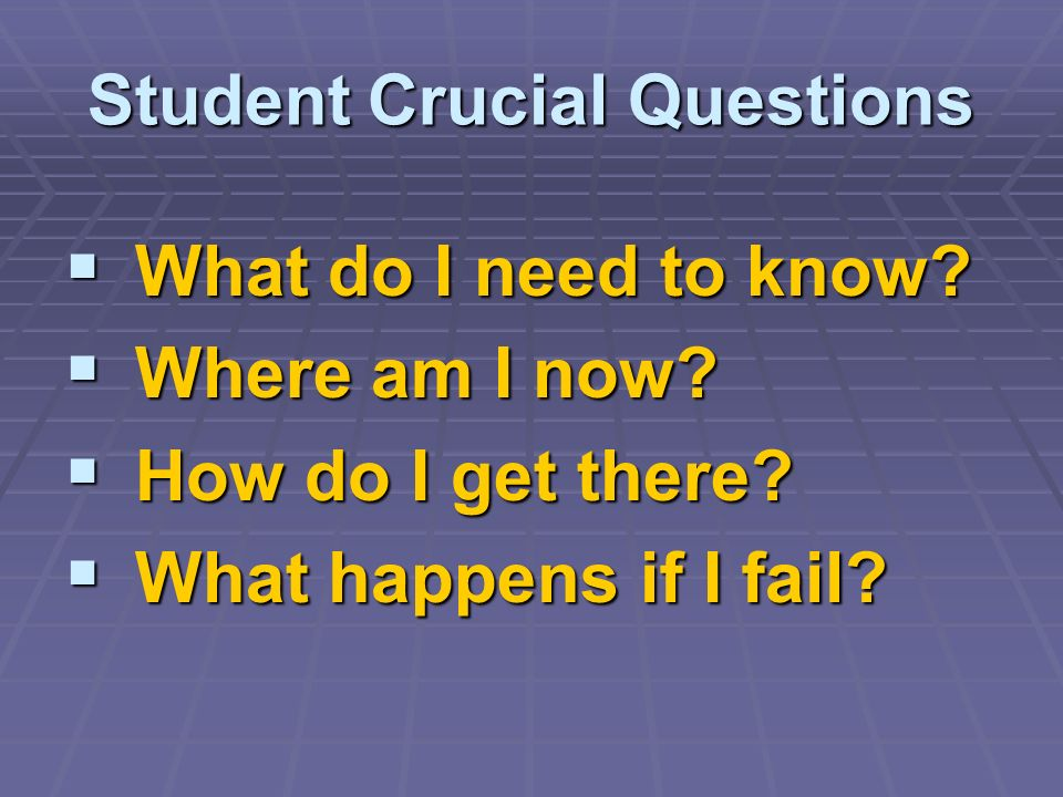 Student Crucial Questions