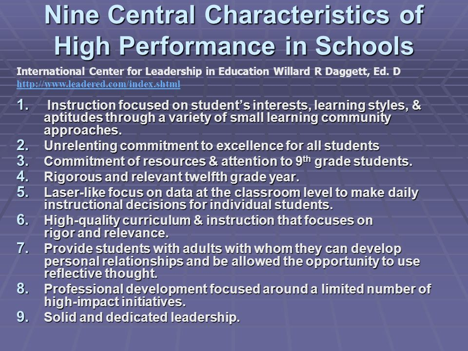 Nine Central Characteristics of High Performance in Schools