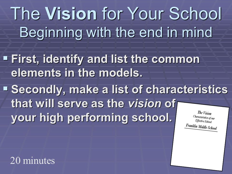 The Vision for Your School Beginning with the end in mind