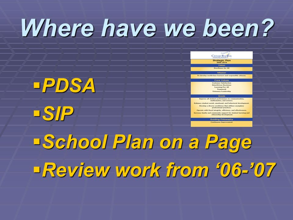 Where have we been PDSA SIP School Plan on a Page