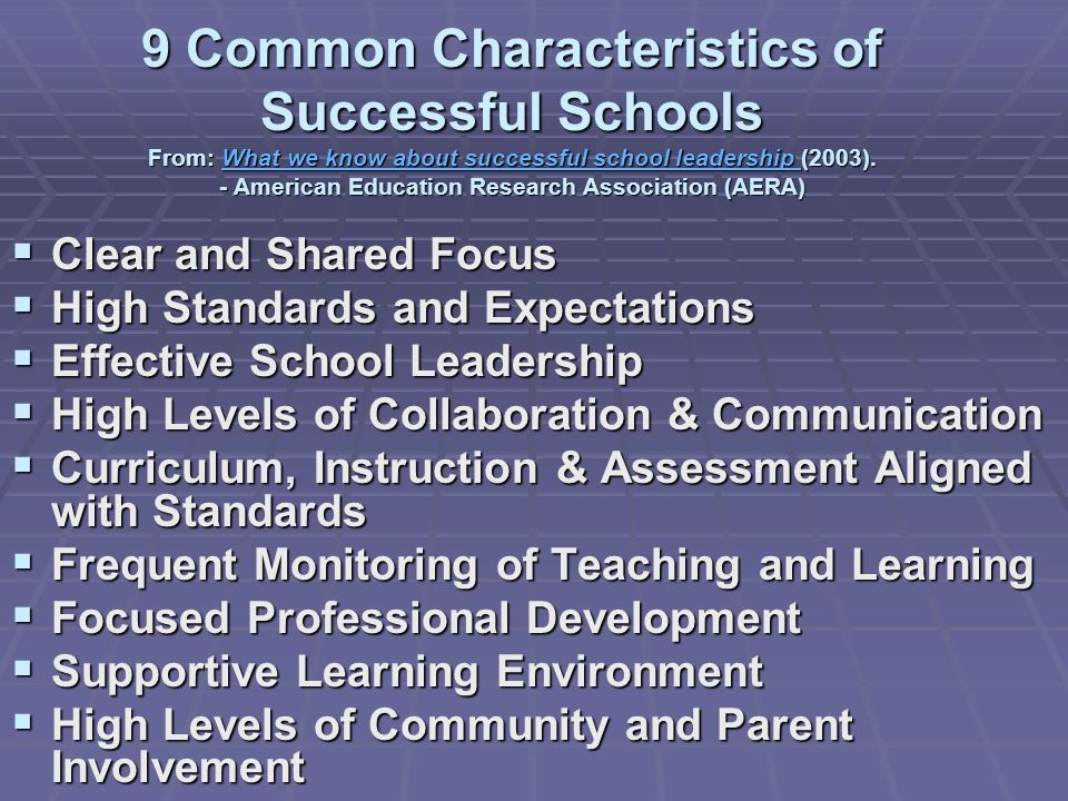 9 Common Characteristics of Successful Schools From: What we know about successful school leadership (2003). - American Education Research Association (AERA)