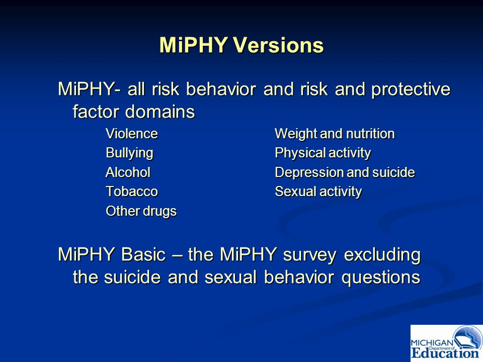 MiPHY Versions MiPHY- all risk behavior and risk and protective factor domains. Violence Weight and nutrition.