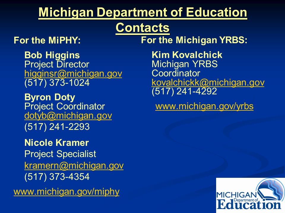 Michigan Department of Education Contacts