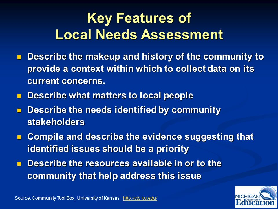 Key Features of Local Needs Assessment