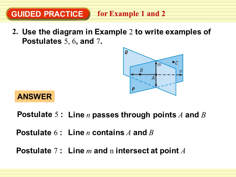 Example 1 identify a postulate illustrated by a diagram state the guided practice for example 1 and 2 use the diagram in example 2 to write ccuart Images