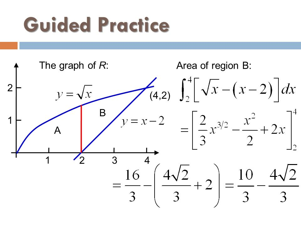 Guided Practice The graph of R: Area of region B: 2 (4,2) B 1 A 1 2 3