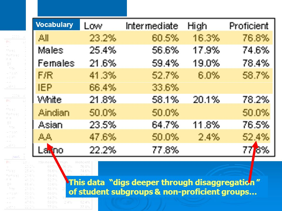 Vocabulary This data digs deeper through disaggregation of student subgroups & non-proficient groups…