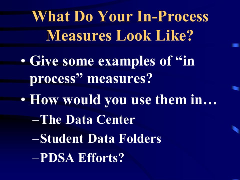 What Do Your In-Process Measures Look Like