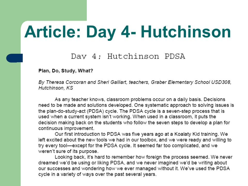 Article: Day 4- Hutchinson