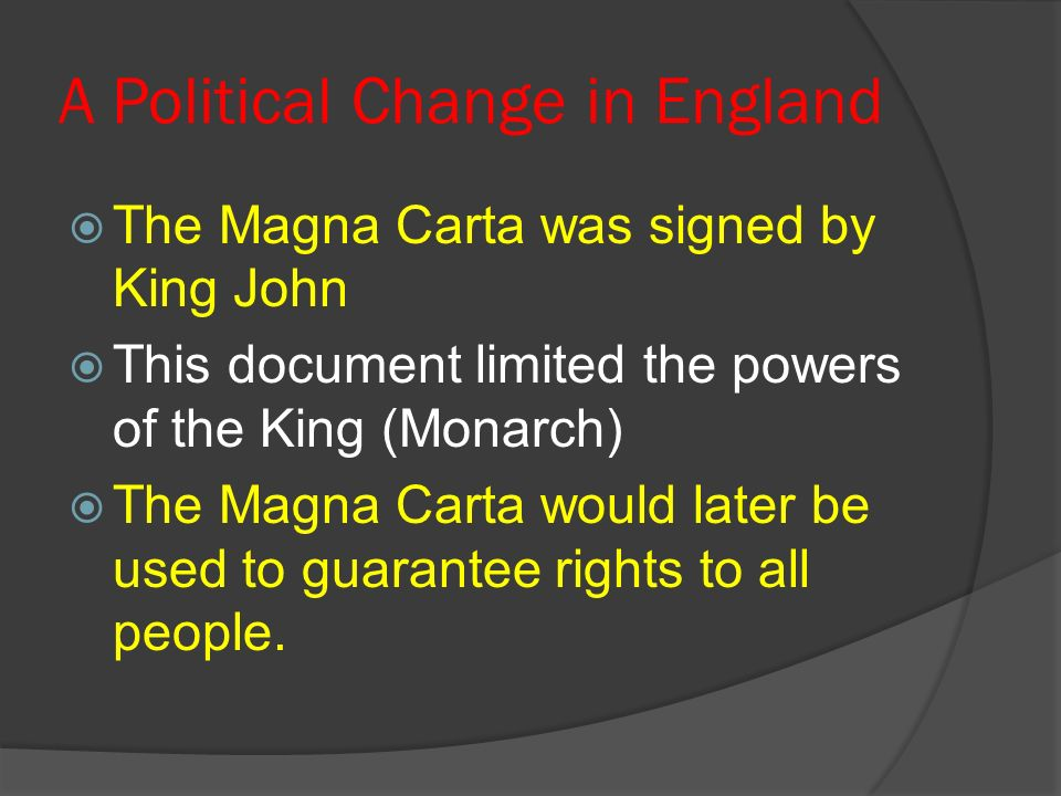 A Political Change in England