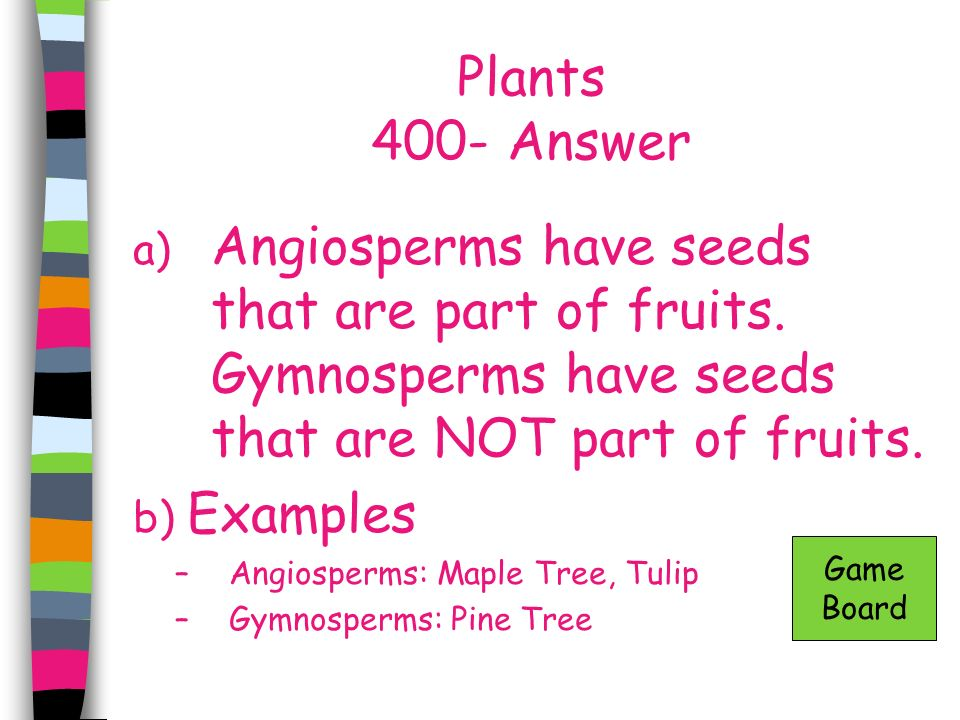 Plants 400- Answer Angiosperms have seeds that are part of fruits. Gymnosperms have seeds that are NOT part of fruits.
