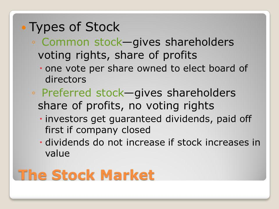 The Stock Market Types of Stock