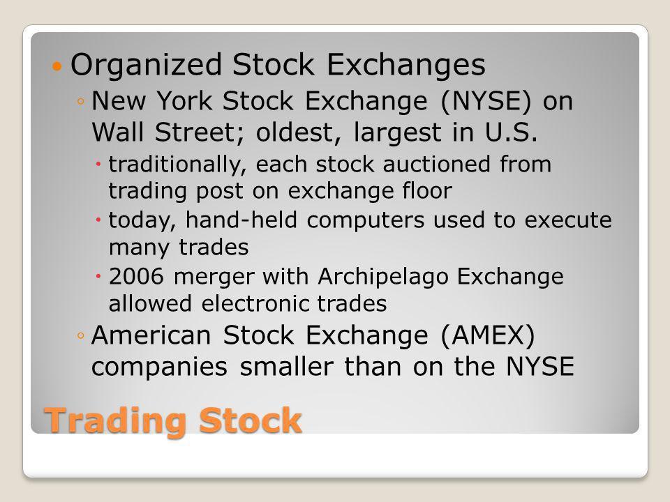 Trading Stock Organized Stock Exchanges