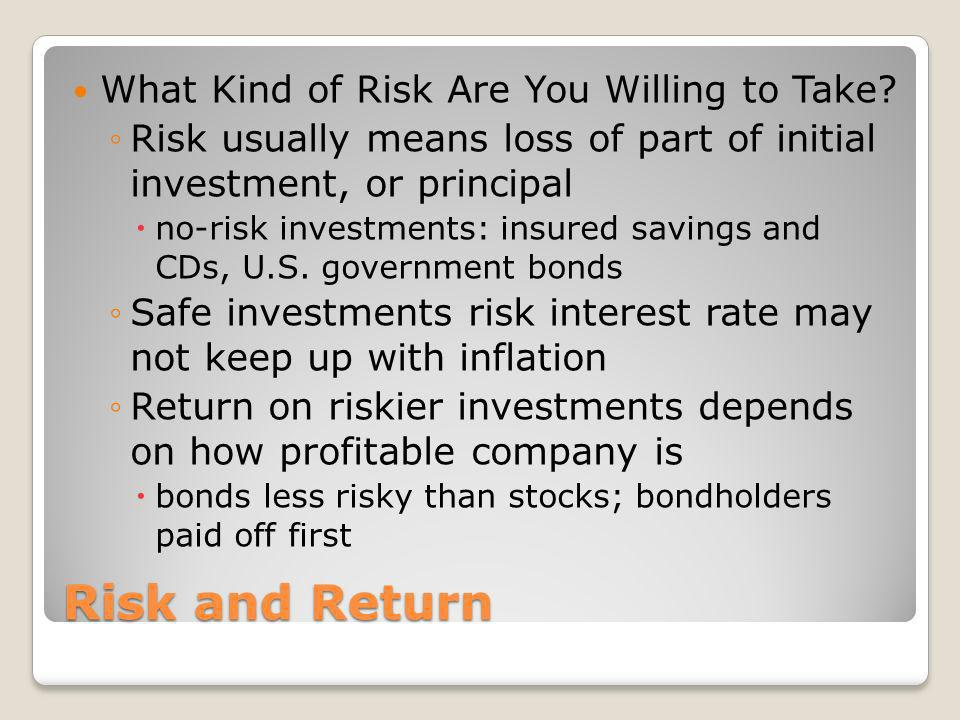 Risk and Return What Kind of Risk Are You Willing to Take