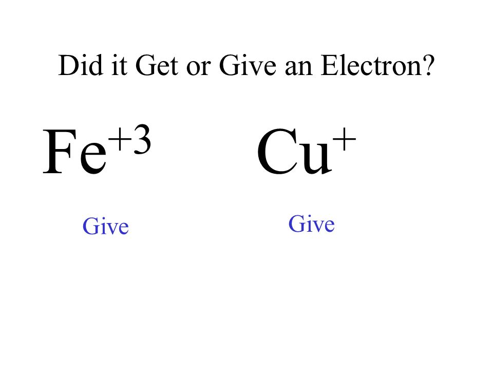 Did it Get or Give an Electron