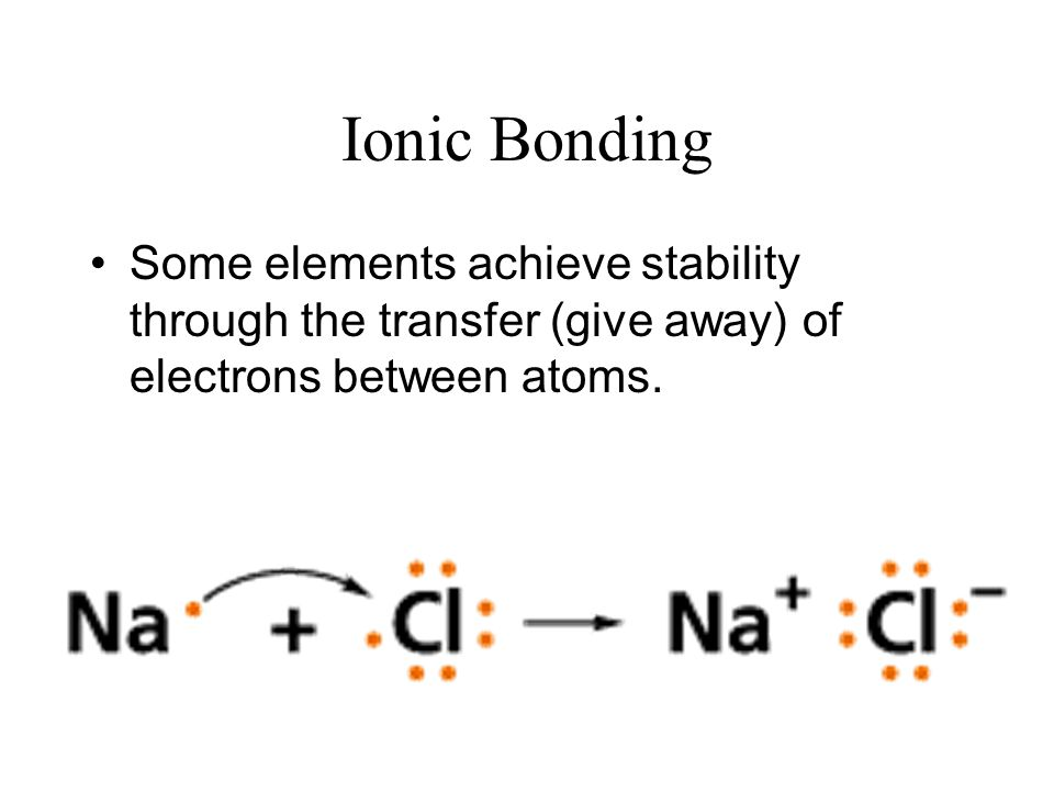 Ionic Bonding Some elements achieve stability through the transfer (give away) of electrons between atoms.