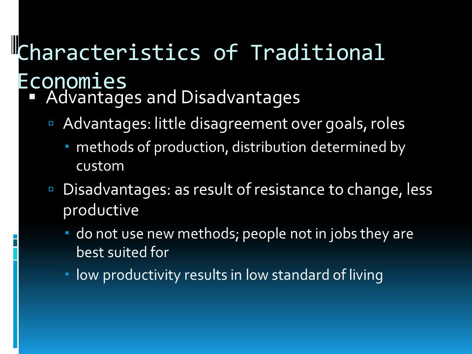 Characteristics of Traditional Economies
