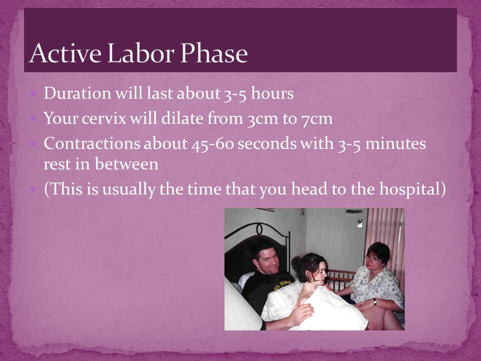 Active Labor Phase Duration will last about 3-5 hours