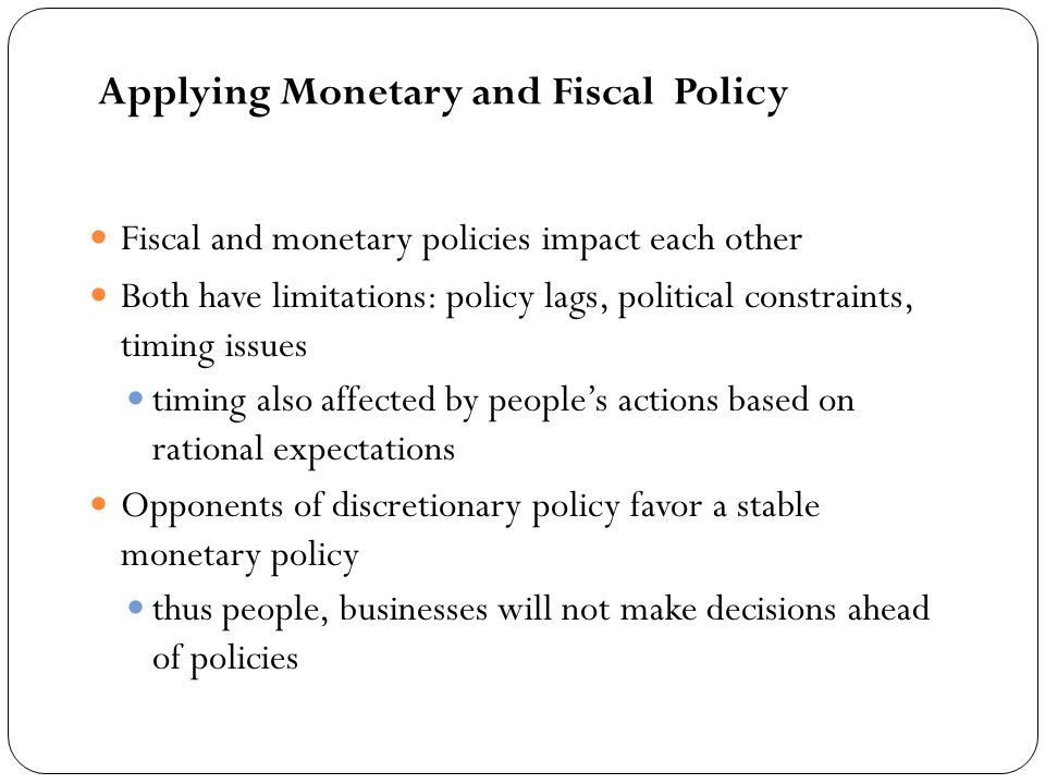 Applying Monetary and Fiscal Policy