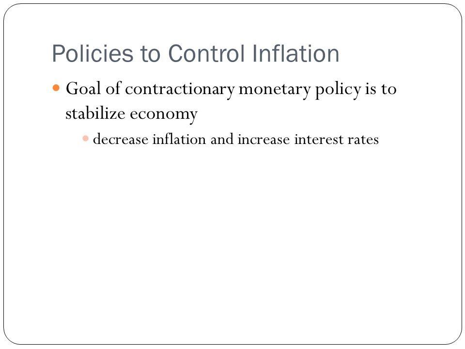Policies to Control Inflation
