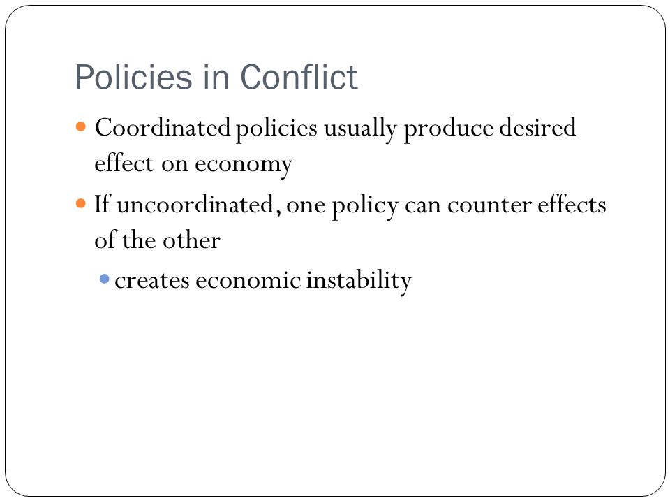 Policies in Conflict Coordinated policies usually produce desired effect on economy. If uncoordinated, one policy can counter effects of the other.