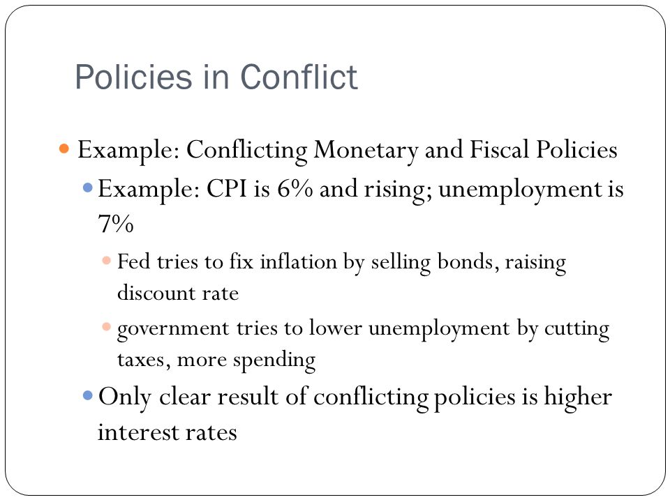 Policies in Conflict Example: Conflicting Monetary and Fiscal Policies