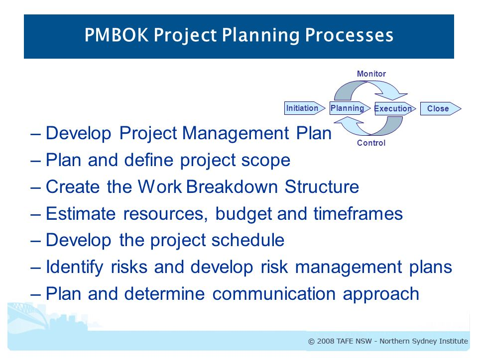 PMBOK Project Planning Processes