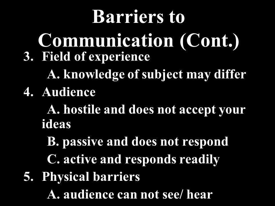 Barriers to Communication (Cont.)
