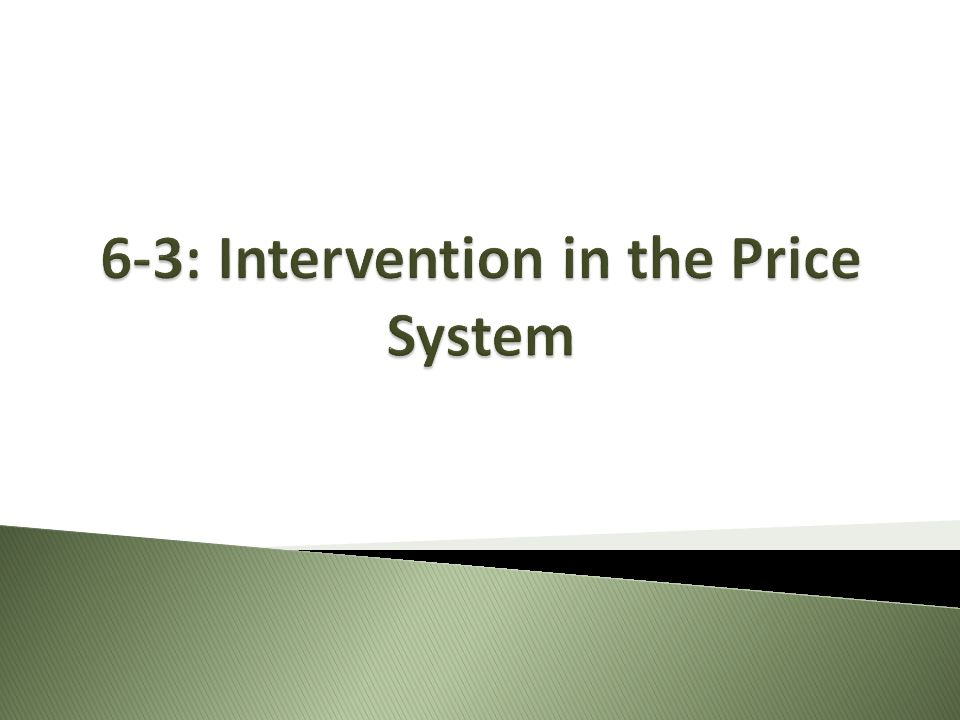 6-3: Intervention in the Price System