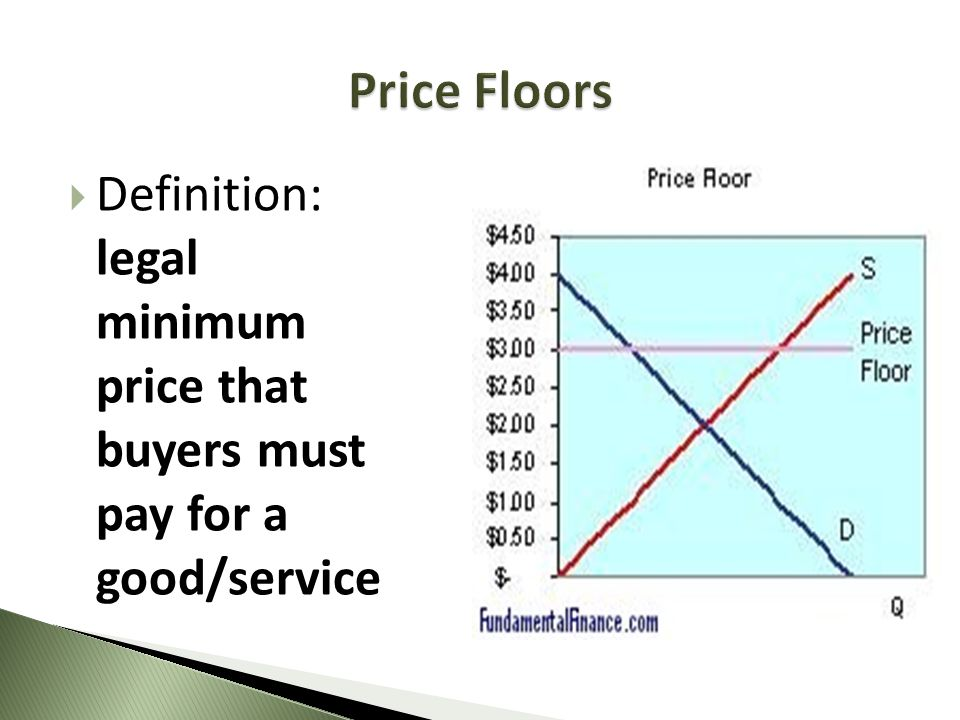 Price Floors Definition: legal minimum price that buyers must pay for a good/service