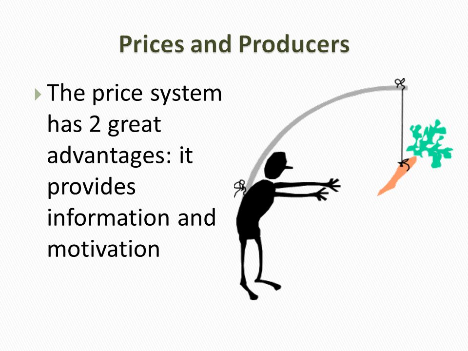 Prices and Producers The price system has 2 great advantages: it provides information and motivation.