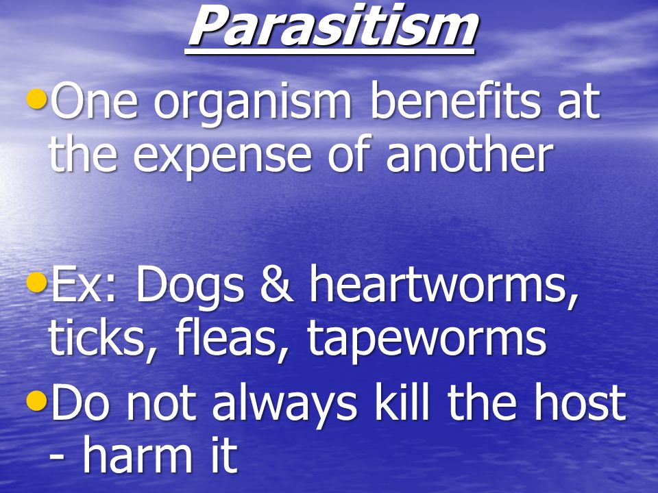 Parasitism One organism benefits at the expense of another