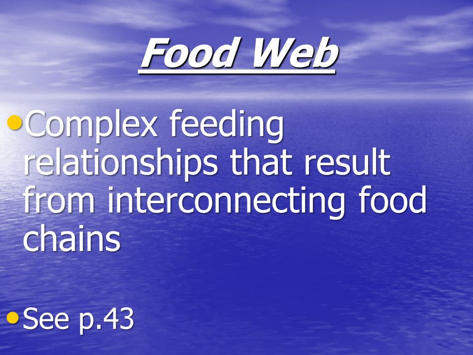 Food Web Complex feeding relationships that result from interconnecting food chains See p.43