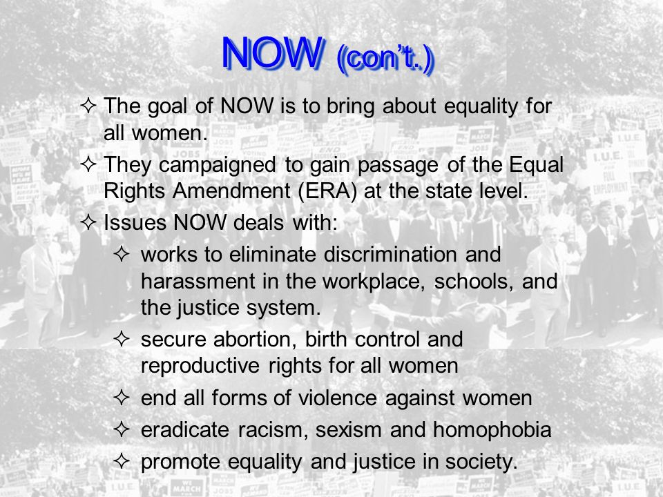 NOW (con't.) The goal of NOW is to bring about equality for all women.