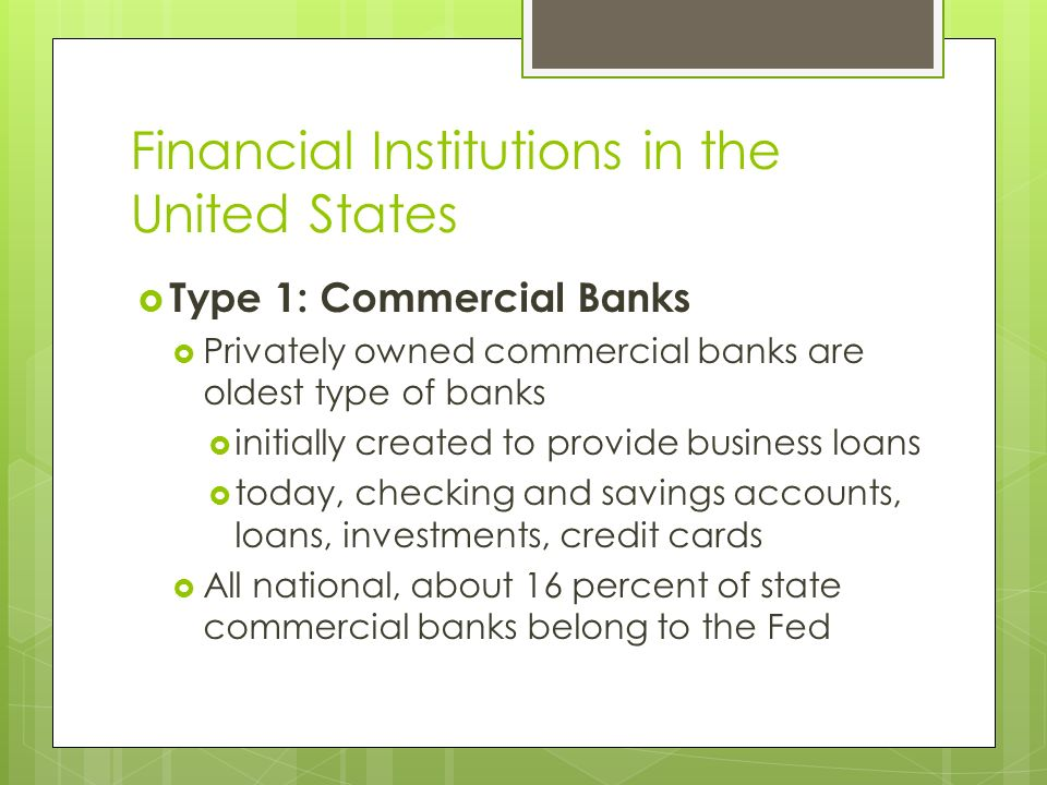 Financial Institutions in the United States