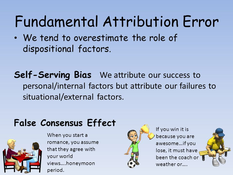 business essays fundamental attribution bias Attribution, defined as assigning a quality or character to a person or an object, in the context of psychology, refers to the classification of factors that affect behaviour.