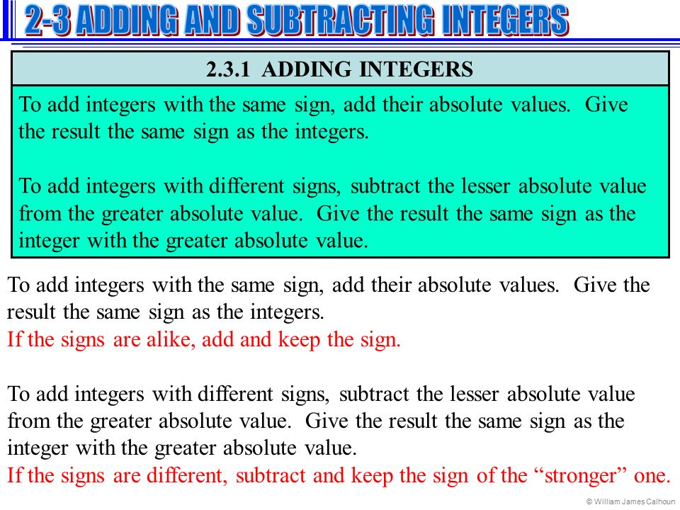 Adding and Subtracting Integers - ppt video online download