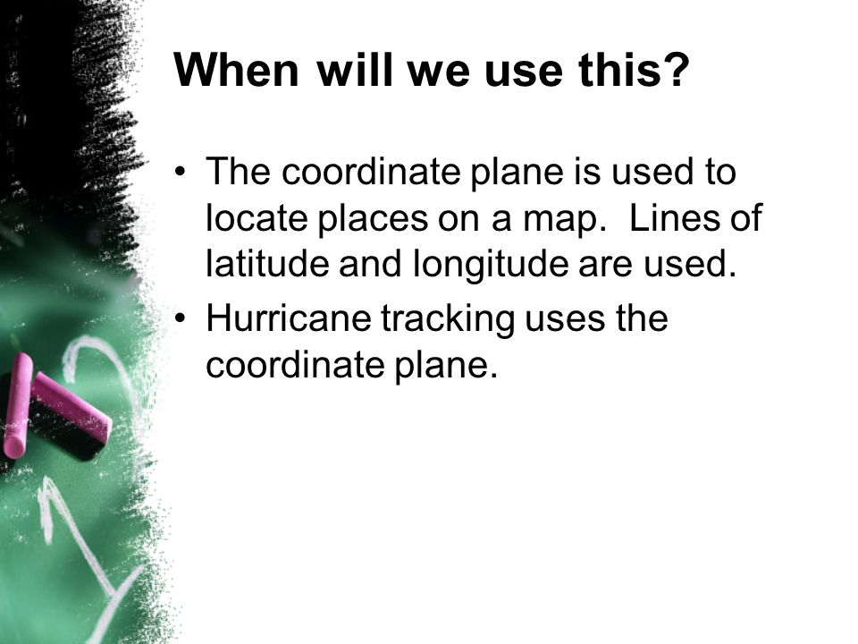 When will we use this The coordinate plane is used to locate places on a map. Lines of latitude and longitude are used.