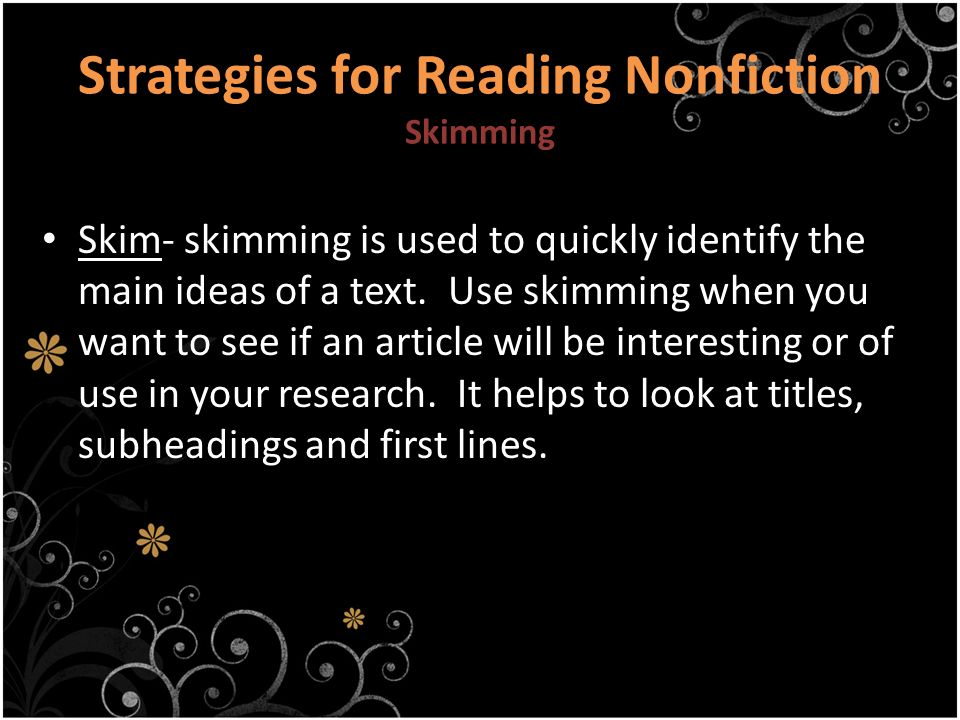 Strategies for Reading Nonfiction Skimming