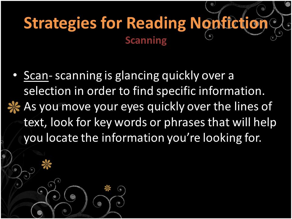 Strategies for Reading Nonfiction Scanning