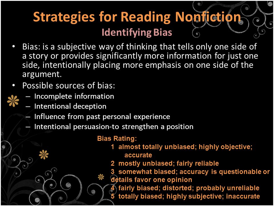 Strategies for Reading Nonfiction Identifying Bias