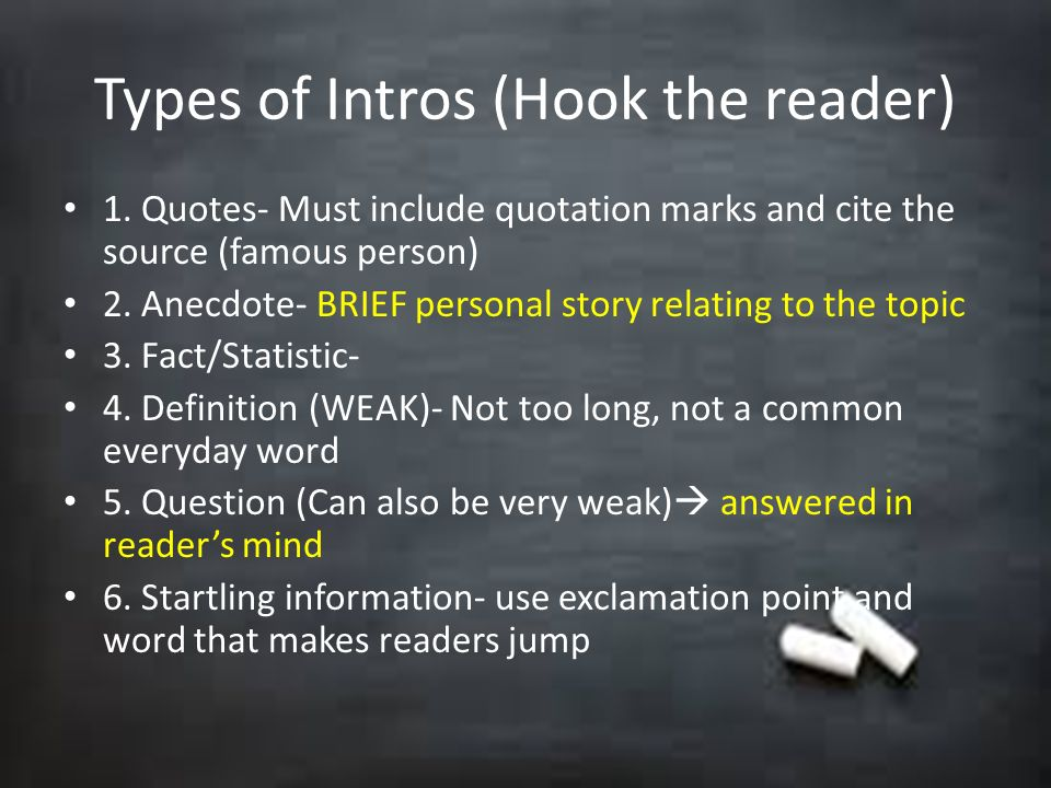 Types of Intros (Hook the reader)