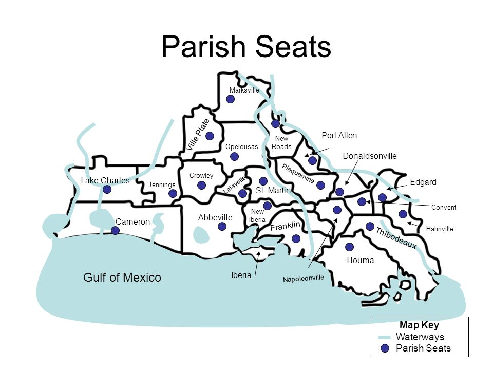 Parish Seats Gulf of Mexico Map Key Waterways Parish Seats Ville Plate