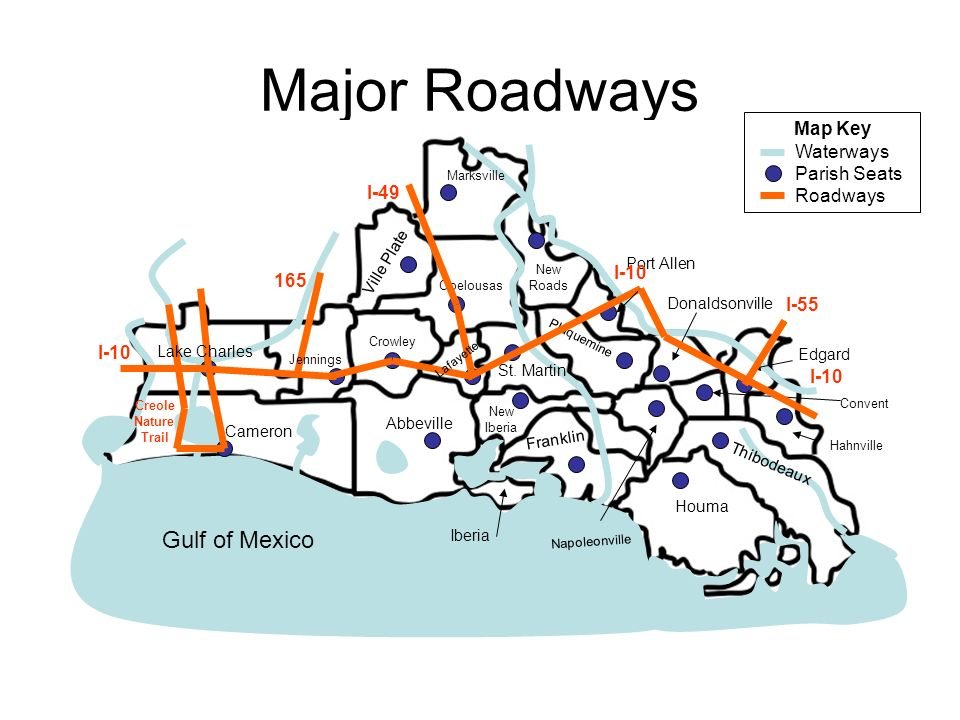 Major Roadways Gulf of Mexico Map Key Waterways Parish Seats Roadways