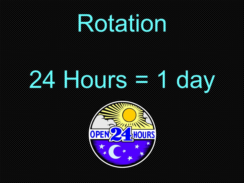 Rotation 24 Hours = 1 day